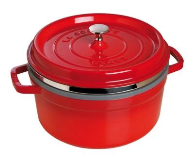 Cocotte ronde STAUB avec cuit vapeur  26 cm cerise