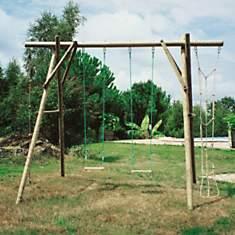 Portique en bois 2 balançoires, 1 corde ...