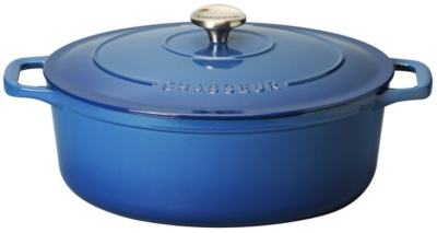 Cocotte en fonte ovale 33 cm Poséidon - Sublime Bleu