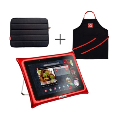 Tablette QOOQ ULTIMATE rouge + housse +  tablier