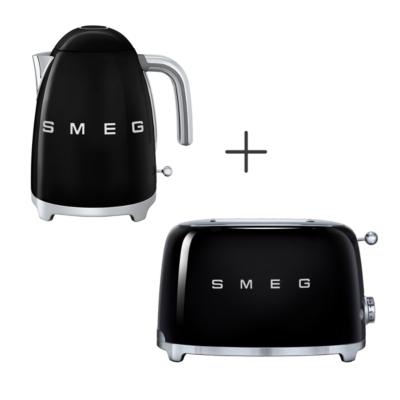 Toaster 2 tranches Bouilloire 1.7L noire SMEG