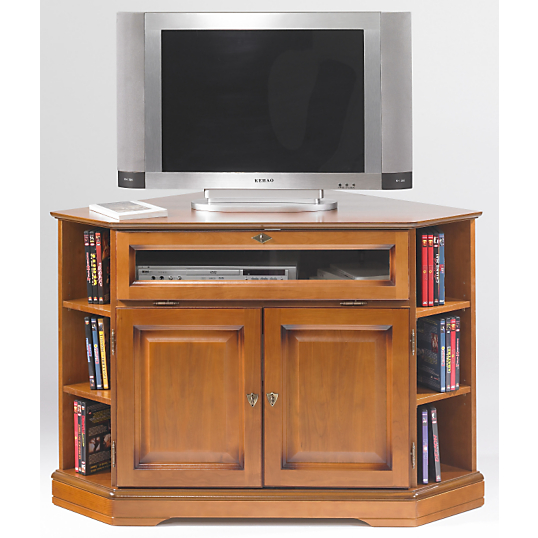 meuble tv d 39 angle florac abattant merisier. Black Bedroom Furniture Sets. Home Design Ideas