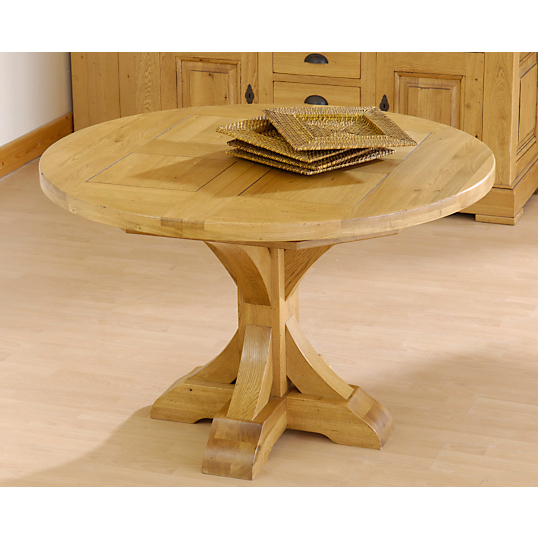 Table ronde pied central bois massif images for Table pied central