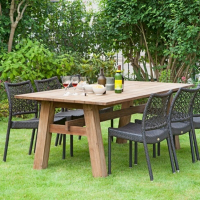 Ensemble repas Coulon table en teck 6 chaises en résine tressée MEDICIS