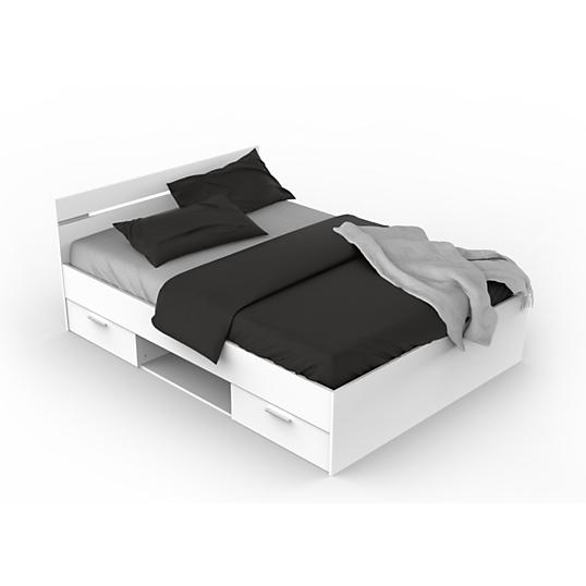 Lit rangement douai 140 x 190 cm blanc lits avec rangements chambres me - Lit 140 x 190 avec rangement ...