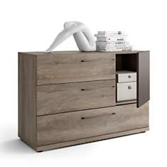 Commode 3 tiroirs + 1 porte chêne Dougla...