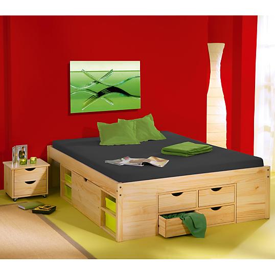 Lit multi rangements inca 140 cm naturel - Lit bois avec rangement ...