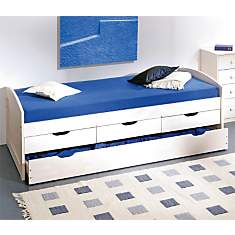 Lit à tiroirs Isée teinté blanc 90 x 190...