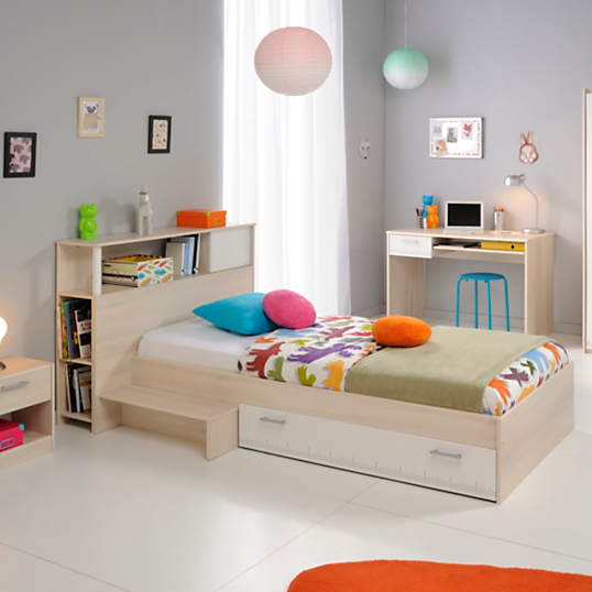 lit rangement avec t te de lit pierre 90 x 190 cm. Black Bedroom Furniture Sets. Home Design Ideas