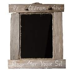 Petit miroir carré en bois flotté grisé...