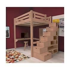 Lit Mezzanine Alpage bois + escalier cub...