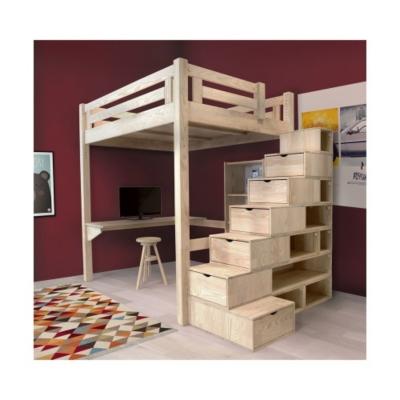 Lit Mezzanine Alpage bois + escalier cube hauteur réglable Camif