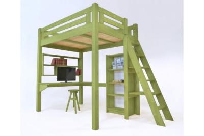 Lit Mezzanine Alpage bois + échelle hauteur réglable Camif