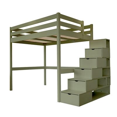 Lit Mezzanine Sylvia avec escalier cube bois Camif