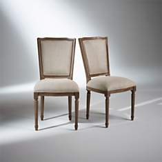 2 Chaises Marie Antoinette, patine taupe...