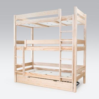 Lit superposé ABC 4 places en bois massif 90x190 Camif