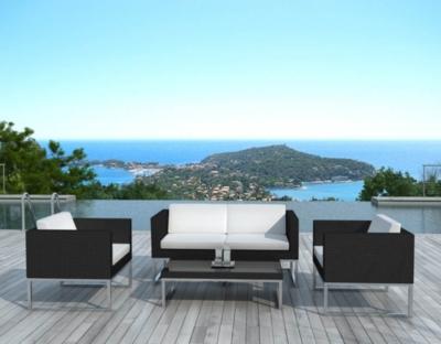 Salon de jardin design 4 places en résine noire coussins écru