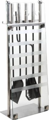 Valet de cheminée avec 4 accessoires en Métal et Verre