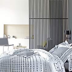 Parure de lit percale Mirage Acier BLANC...