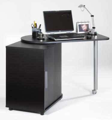 Meubles bureau informatique pivotant 105 cm noir - Bureau avec plateau pivotant ...
