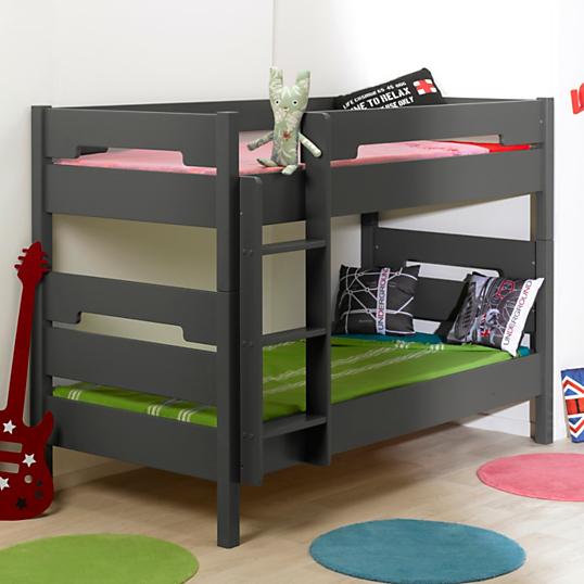 lits superpos s scott 90 x 190 gris. Black Bedroom Furniture Sets. Home Design Ideas