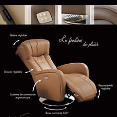 Fauteuil relax bi-moteur pivotant  cuir ...
