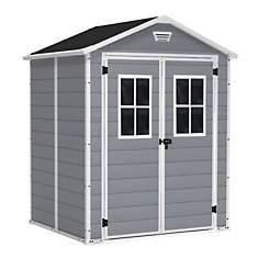 Abri de 4 m² avec double porte gris et  ...