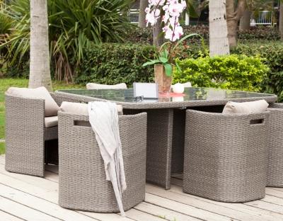 Ensemble repas BARI table 6 fauteuils