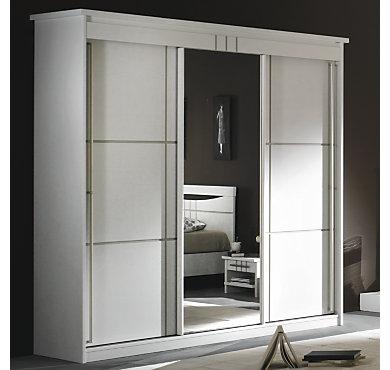 Armoire 3 portes miroir coulissantes mareva blanc - Armoire blanche porte coulissante ...