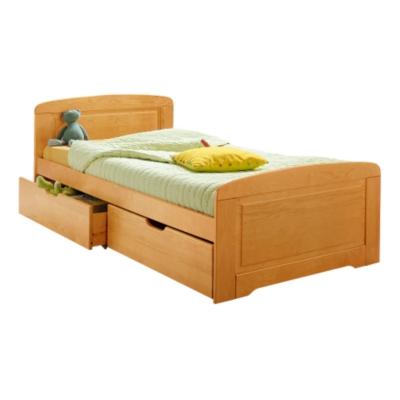 Lit junior et lot de 2 tiroirs teintés miel, 90 x 190 cm pour 475€