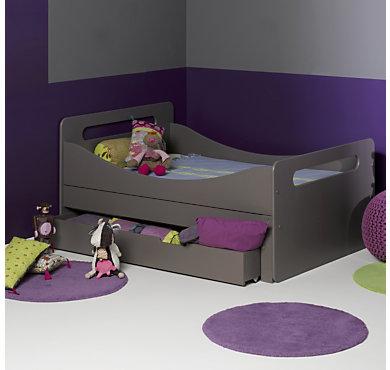 lit volutif scott taupe avec tiroir. Black Bedroom Furniture Sets. Home Design Ideas