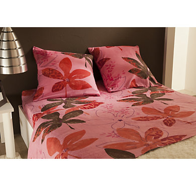 parure de lit drap flanelle erable rose. Black Bedroom Furniture Sets. Home Design Ideas