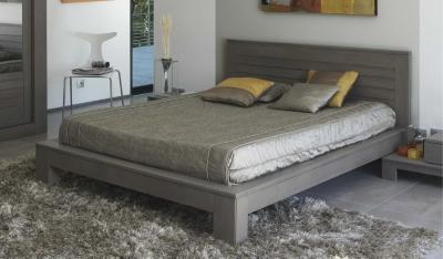 Lits Adultes Chambre Rangement Page N - Lit 160x200 chene gris