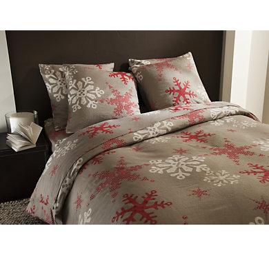 parure de lit drap flanelle flocon taupe. Black Bedroom Furniture Sets. Home Design Ideas
