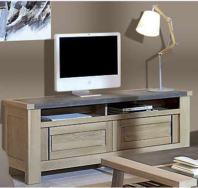 meuble tv florestan portes coulissantes dessus effet b ton cir. Black Bedroom Furniture Sets. Home Design Ideas