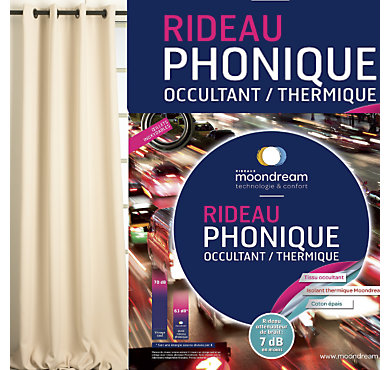 rideau phonique occultant thermique moondream. Black Bedroom Furniture Sets. Home Design Ideas