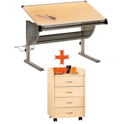 Ensemble bureau architecte et caisson 4 tiroirs Obi pour 215€