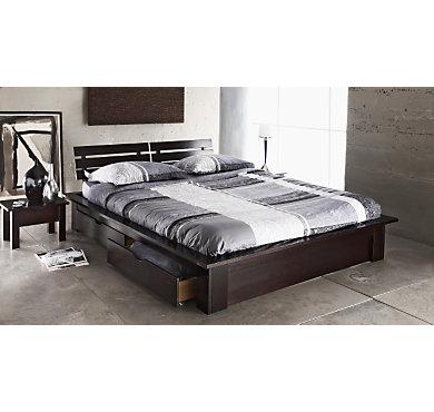 lit complet tamour 140 cm weng. Black Bedroom Furniture Sets. Home Design Ideas