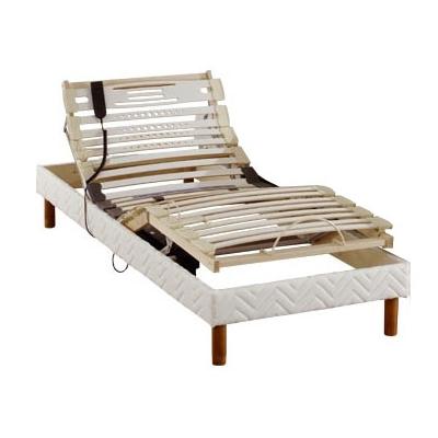 Sommier relaxation, finition tissu avec pieds de lit pour 410€