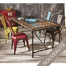 Table rectangulaire Vintage sur roulettes