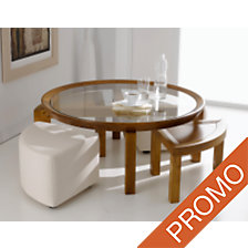 Ensemble table basse ronde + poufs et dessert...