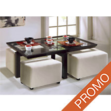 Ensemble Table basse rectangulaire + 4 poufs ...