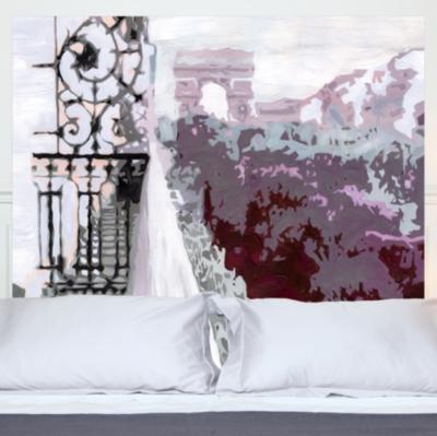 Tête de lit Arc de Triomphe MADEMOISELLE TISS. Composition : belle toile épaisse, 100 % polyester mat, effet coton natté, 300 g /