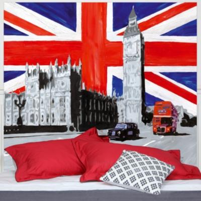 Tête de lit London MADEMOISELLE TISS. Composition : belle toile épaisse, 100 % polyester mat, effet coton natté, 300 g / m²,