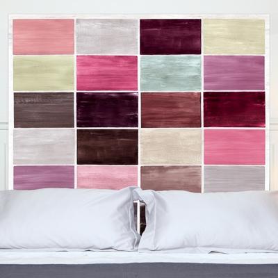 Tête de lit Guimauves MADEMOISELLE TISS. Composition : belle toile épaisse, 100 % polyester mat, effet coton natté, 300 g / m&sup2