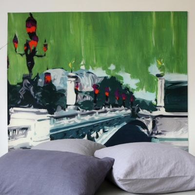 Tête de lit Pont Alexandre MADEMOISELLE TISS. Composition : belle toile épaisse, 100 % polyester mat, effet coton natté, 300 g / m