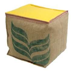 Pouf cube Café Doux LILOKAWA, jaune