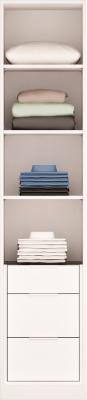 PERCEY Armoire H232 x L50 x P59cm 4 étagères Bloc 3 tiroirs et tablette. PERCEY Dressing sur Mesure Fabriqué en France CORPS de M