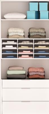 PERCEY Armoire H232 x L100 x P59cm 4 étagères bloc3 tiroirs et 1 tablette. PERCEY Dressing sur Mesure Fabriqué en France CORPS de