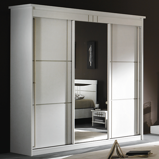 Armoire 3 portes miroir coulissantes mareva blanc - Porte coulissante scrigno fiche technique ...